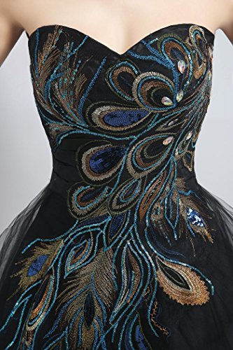 Cocktail Sweetheart Dresses Sleeveless Mini Black Peacock Beauty Emily X6q5YY
