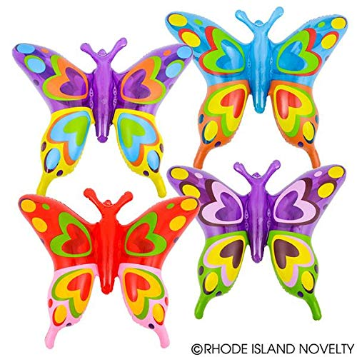 1 DOZEN Inflatable, Beautiful Transparent Butterflies (27in. Each) / Theme Party Favor / Decor / Gift / Prize / Giveaway