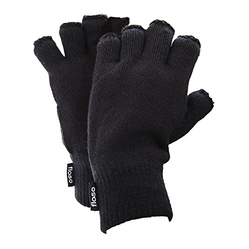 FLOSO Mens Thermal Fingerless Gloves (3M 40g) (One Size Fits All) (Black)