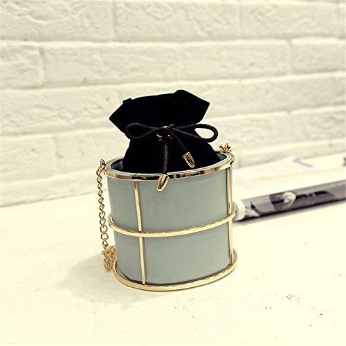 Qearly Damen Elegant Leder Zylinder Form Mini Umhaengetasche Schultertasche Klein Tasche-Schwarz Tuerkis