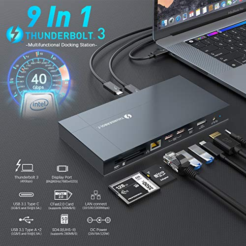 Thunderbolt 3 Dock, 40Gbps Thunderbolt 3 Docking Station with 8K Display,Gigabit Ethernet, USB 3.1 Gen 23, UHS-II SD 4.0, CFast 2.0,135W Charging for Thunderbolt Mac and PC (2.3FT Thunderbolt Cable)