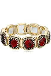 "Napier ""Red Hour"" Gold-Tone/Red Drama Stretch Bracelet"