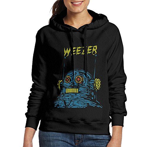 Weezer Rock Band Womens Pullover Hooded Hoodie Sweatshirt Black ()