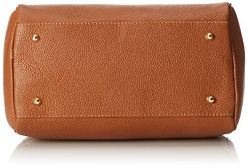 100 Cuoio Satchel Made Orange 30x23x18cm Hand CTM in Italy Bag Women wfA7v6qX