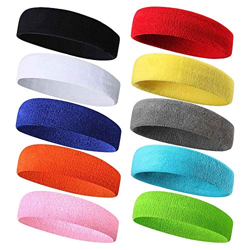 Beauty7 10 Pack Sports Terry Cloth Sweatbands Headbands Hair Wrap for Men & Women Cotton Moisture Wicking Athletic Gym Working Out Running Yoga Crossfit Tennis Basketball ()