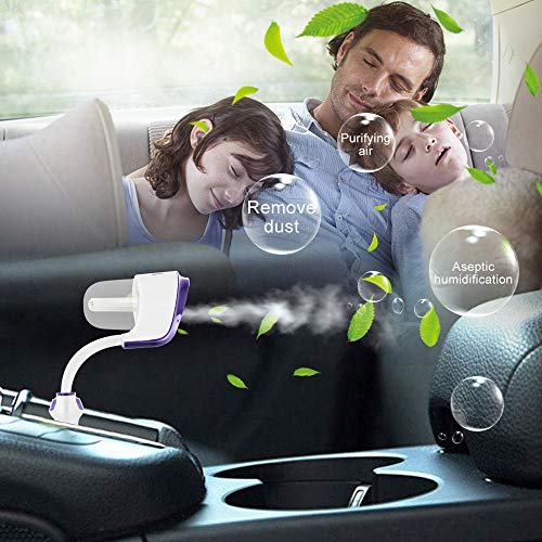 GenLed Car Humidifier, Car Diffuser, Cool Mist Car Air Purifier with 2 USB Charger, 12V Mini Car Aromatherapy Diffuser, Portable Car Essential Oil Diffuser, Car Diffuser Filters Gift (Purple)
