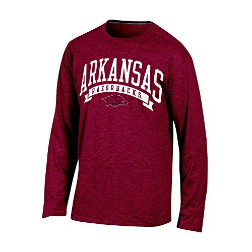 Arkansas Long Sleeve T-shirt - Champion (CHAFK) NCAA Arkansas Razorbacks Adult Men Long sleeve Crew Neck Tee, Large, Cardinal Heather
