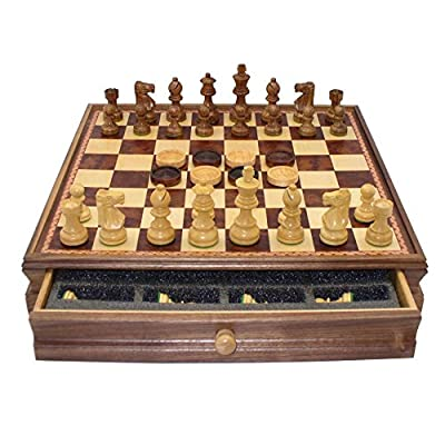 Chess and Checkers Set with Storage Chest, Wooden Chess Men and Checker Pieces by Worldwise Chess - 15 x 15 inches