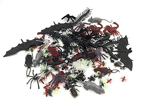 Alimitopia 150pcs Assorted Fake Bug Realistic Imitation Worm Insect Halloween Prank Props -