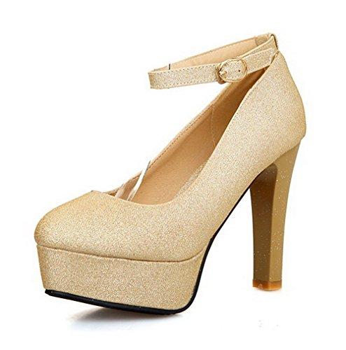 VogueZone009 Damen Hoher Absatz Weiches Material Rein Schnalle Rund Zehe Pumps Schuhe Golden