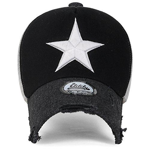 ililily Cotton Star Embroidery Baseball Black Trucker White Hat Cap Black FW6FpPqwr