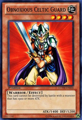 YU-GI-OH Card (1st-Class Shipping w/ TRACKING!!!) - Legendary Collection III - Yugi's World - 1st Edition MINT Condition Common card w/ protective toploader: LCYW-EN036 OBNOXIOUS CELTIC (Obnoxious Celtic Guard)