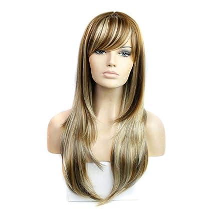Beikoard Peluca-Largo ondulado rizado pelucas color pelucas sintéticas peluca rubia resistencia al calor fibra