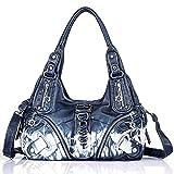 Handbag Hobo Women Bag Roomy Multiple Pockets Street ladies' Shoulder Bag Fashion PU Tote Satchel Bag for Women (11282Z jeanblue)