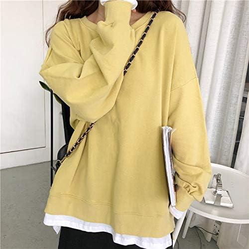 WDDGPZ1 Sweatshirt Hoodies Damen O-Neck Plus Velvet Freizeit Patchwork Allgleiches Kawaii Sweatshirts Damen Oversize Soft Loose Students yellow