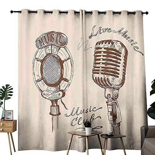 Mannwarehouse Jazz Music Decor Classical Curtain Old Fashioned Doodles with Waves and Vintage Microphone Print Retro Style Boho Decor Set of Two Panels W120 x L96 Brown Ecru - Music Jazz Classical Elements