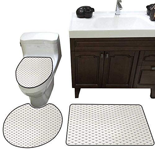 John Taylor Diamonds Bath Rug Set Piece Polka Dots Background with Abstract Monochrome Classic Stone Motifs Geometrical Toilet mat Set Ivory Black