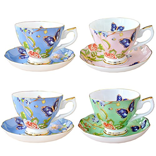 Yosou Home Butterfly pattern 7-Ounce Porcelain Teacup and Saucer Boxed Set,Set of 4