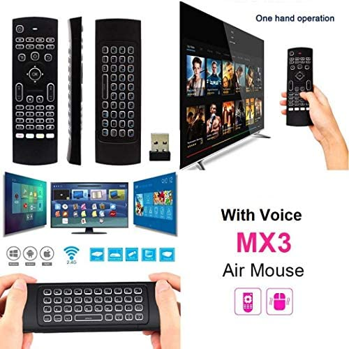 Favormates Air Remote Mouse MX3 Pro,2.4G Backlit Kodi Remote Control,Mini Wireless Keyboard & Infrared Remote Control Learning, Best for Android Smart Tv Box HTPC IPTV PC Pad Xbox Raspberry pi 3