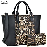 MMK Collection Two tone Designer Handbags for women~ Large Fashion Purses & Handbags~ Beautiful Tote Style(6417) with Free Wallet~Perfect handbag set for Her(6417-Black/Leopard)