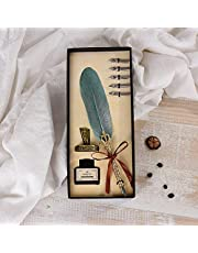 Vintage Feather Quill Dip Pen Writing Ink Set Perfect for Signing Handwriting School Office Stationery Gift Excellent Wedding Souvenir
