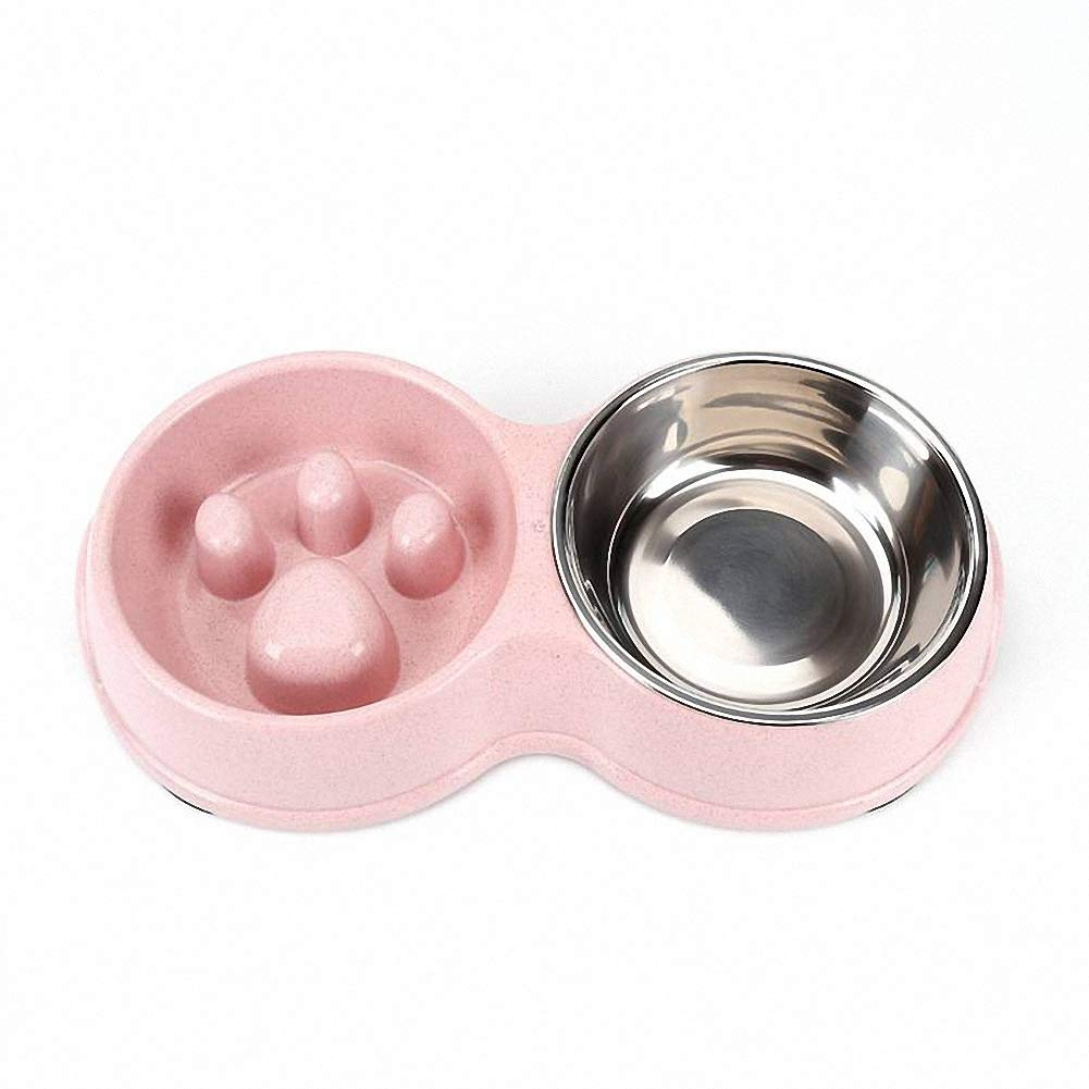 Healthy Food Feeder Dish Double Bowl Slow Feeder Bowl Dog Pet Anti-Gulping Feed Bowl,Pink