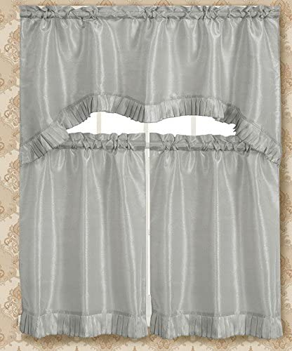 RT Designers Collection Bermuda Ruffle Kitchen Curtain, Silver Window-Treatments