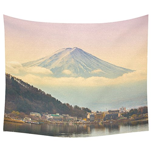 InterestPrint Japan Mount Fuji Home Decor Tapestries Wall Art, Mountain Lake Landscape Tapestry Wall Hanging Art Sets 60 X 51 Inches