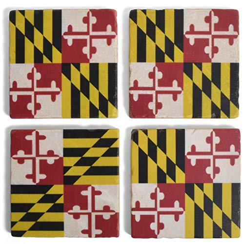 Studio Vertu Maryland State Flag Marble Coasters, Set of 4