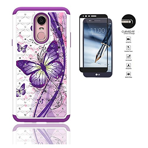 - LG Stylo 4 Case, Dual Layer Crystal Cover Case for LG Stylo 4 / LG Stylus 4 + Tempered Glass Screen Protector (White Purple Butterfly)