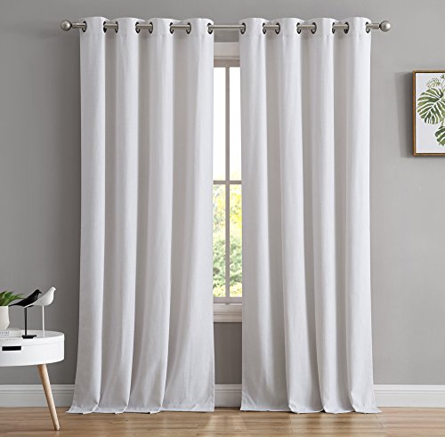 - HLC.ME Textured Solid Cotton Rich - Modern Linen Look Grommet Top Window Curtain Drapes Panels for Living room & Bedroom - 50