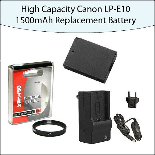 High Capacity Canon LP-E10 1500mAh Replacement Battery With Opteka 58mm HD2 UV Haze Multi-Coated Glass Filter With 1 Hour Rapid Charger For Canon EOS Rebel T3 T5 1100D 1200D Kiss X50 by 47th Street Photo
