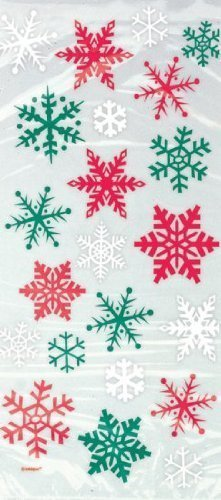 20 Red & Green Snowflake Cellophane Sweet Display Bags Unique Party