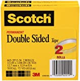 Scotch Double Sided Tape, 1/2 x 1296 Inches, 3-Inch Core, 2 Rolls (665-2P12-36)