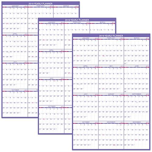 Erasable Wall Calendar 2019 - Yearly Wall Calendar, 3 Pack 24
