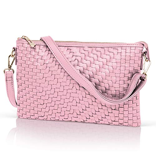 Pink Crossbody Bag for Women - Woven Faux Leather Clutch Purse Wristlet