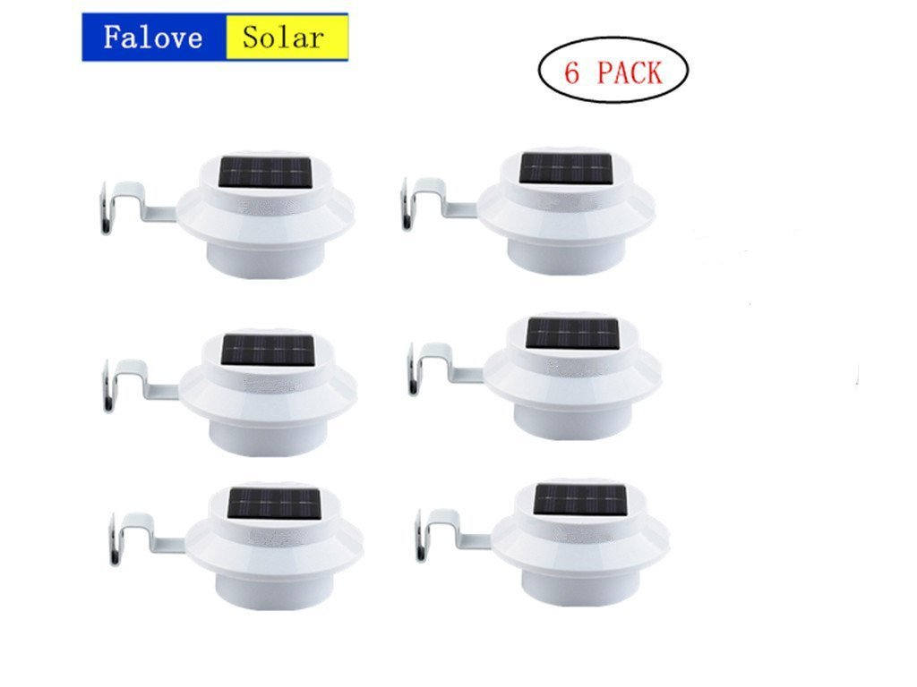 6 Pack Deal - Outdoor Solar Gutter LED Lights - White Sun Power Smart Solar Gutter Night Utility Security Light