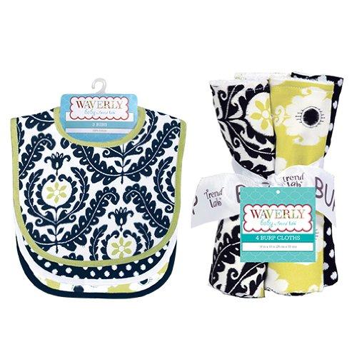 Trend-Lab Kids Bouquet Set - Waverly Rise And Shine - Bib And Burp Cloth 71234