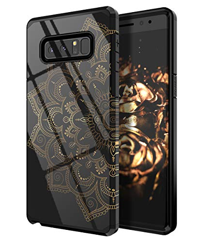 QQcase Galaxy Note 8 Case,Cute Mandala Flowers Case Dual Layer Soft Silicone & Hard Back Cover Heavy Duty PC+TPU Protective Anti-Scratch Shockproof Case for Samsung Galaxy Note 8 (2017 Release)-Black