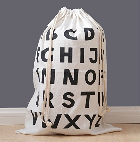Mvchif Extra Large Canvas Toy Bag Drawstring Children Storage Bag for Baby Clothes Gift Bag Collapsible Laundry Wash Bag 25x17inch (Alphabet Pattern) by Mvchif