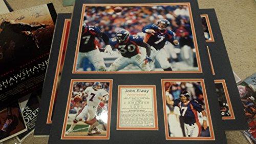 """* JOHN ELWAY * Denver Broncos signed 16x20"""" photo / stats display"""