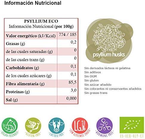 Energy Feelings Psyllium Husk BIO | Cáscara de Psyllium Ecológico | Psyllium Sin Gluten | Prebiótico | Fibra Saciante | Psyllium Entero con Cáscara | ...