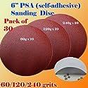 "30x 6"" PSA Self Adhesive 60/120/240 Grit Sanding Disc Stick on Sandpaper Peel Air Sander Orbit"