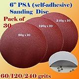 30x 6'' PSA Self Adhesive 60/120/240 Grit Sanding Disc Stick on Sandpaper Peel Air Sander Orbit