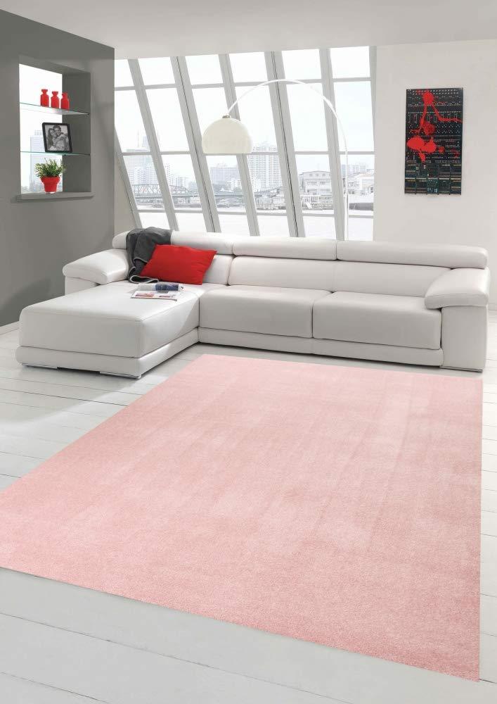Wohnzimmer Rosa Teppich Modern Kurzflor Mit Uni Design In Rosa