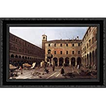 The Campo di Rialto 24x18 Black Ornate Wood Framed Canvas Art by Canaletto