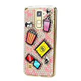 STENES Alcatel One Touch Fierce XL Case - STYLISH - 100+ Bling Crystal - 3D Handmade Summer Glasses Drink Ice Cream Design Protective Case For Alcatel One Touch Fierce XL - Pink