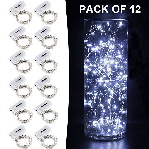 CYLAPEX Pack of 6 LED Starry String Lights with 20 Fairy Micro LEDs on 3.3feet/1m Silver Coated Copper Wire, Battery Powered by 2x CR3032 (Included), for Party Christmas Table Decorations ¡­