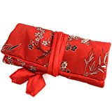 Silky Jewelry Roll / Cosmetic Roll Travel Pouch with Cherry Blossom and Bamboo Embroidering – Red