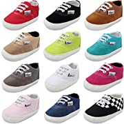 CIOR Baby Canvas Toddler Sneaker Anti-Slip Ultra-Lightwight First Walkers Candy Shoes 0-24 Months,SBBX,Black1,11cm